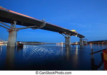 Bridge half done an autumn night - Nightfall, bridge...