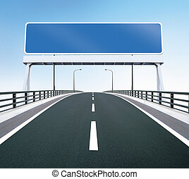 Bridge highway with blank sign - A highway of a bridge. A ...