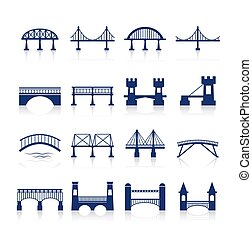 Bridge Icons Set - Bridge architecture city landmark...