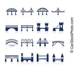 Bridge architecture city landmark silhouette icon set isolated vector illustration