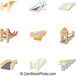 Bridge icons set, cartoon style