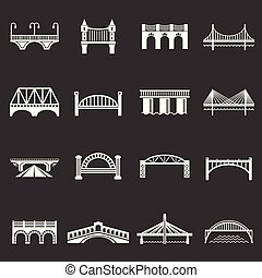 Bridge icons set grey vector
