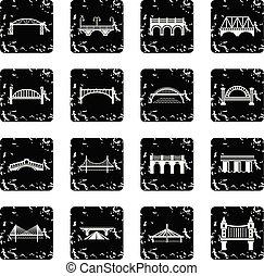 Bridge icons set grunge vector