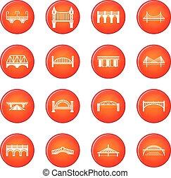 Bridge icons set red vector