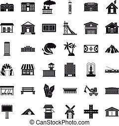 Bridge icons set, simple style