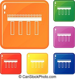 Bridge icons set vector color