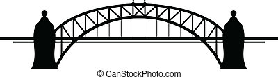 Bridge - Black silhouette of bridge on white background