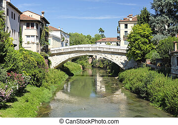 bridge in a center of Vicenza, Italy