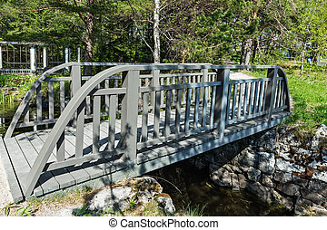 bridge in a park on the shore of a lake in Karelia