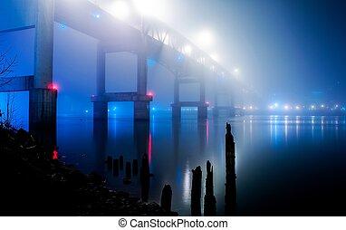 bridge in blue fog