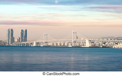 Bridge in Busan city with sunset and sweet sky