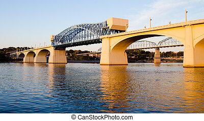 Market Street Bridge, or John Ross Bridge, in Chattanooga, Tennessee.
