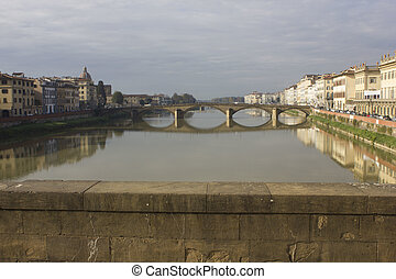 bridge in Florence on Arno river
