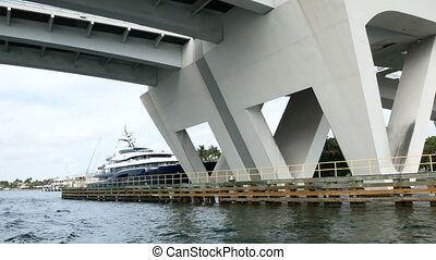 Bridge in Fort Lauderdale - On board view of a boat passing...