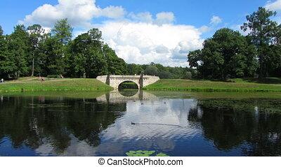 Bridge in Gatchina park - timelapse