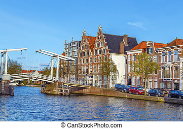 Bridge in Haarlem, Netherlands - Bridge over Spaarne river ...