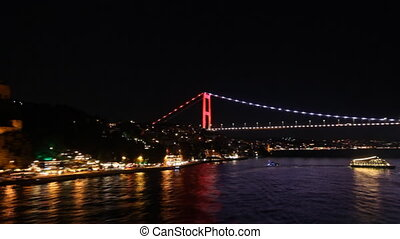 Bridge in Istanbul at night
