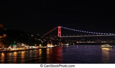 Bridge in Istanbul at night