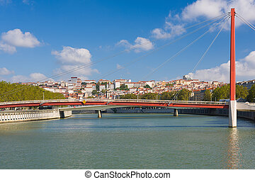 Bridge in Lyon in a summer day