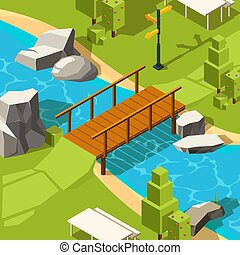 Bridge in park. Water river beautiful place with bridge in grass park for walking vector isometric. Illustration footbridge in parkland, landscape wooden construction