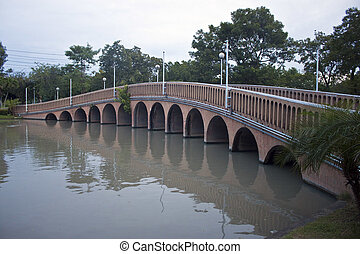 Bridge in Queen Sirikit Park in Bangkok, Thailand