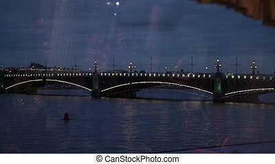 Bridge in Saint-Petersburg at night