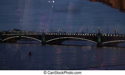 Bridge in Saint-Petersburg at night shot