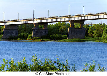 bridge in the city of Kolomna through the Oka River