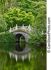 Bridge in the garden. Beautiful bridge