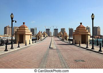 Bridge in the marina Porto Arabia. Doha, Qatar, Middle East