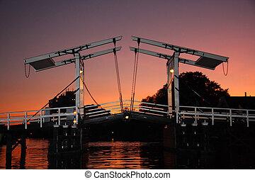 Bridge in the Netherlands in evening