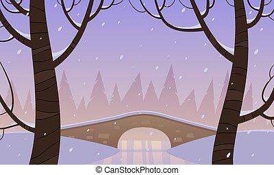 Bridge in the snow