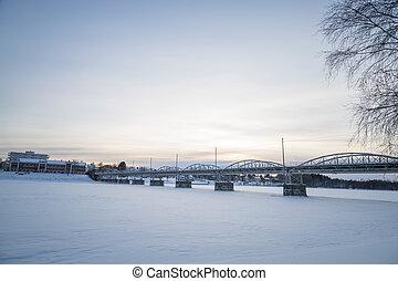 Bridge in Umeå, Sweden in Winter