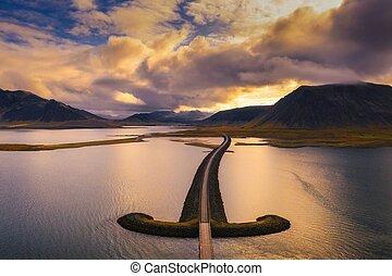 Bridge in west Iceland at sunset