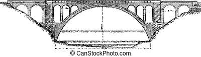 Bridge Lavaur Agout, vintage engraving.
