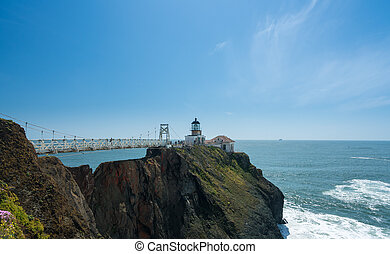 Bridge leading to the lighthouse at Point Bonita Marin ...
