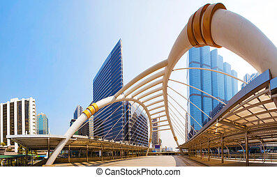 bridge link between mrt and bts mass transportation in heart...