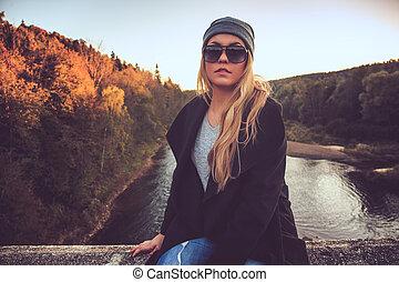 bridge., lunettes soleil, femme, séance