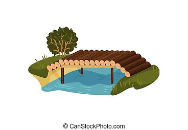 Bridge made of tree logs. Small timber footbridge, blue river, green bush and grass. Flat vector design