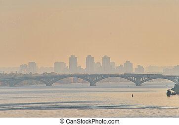 Bridge metro across the Dnieper River in Kiev.