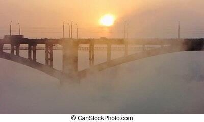 bridge, mist, sun 3