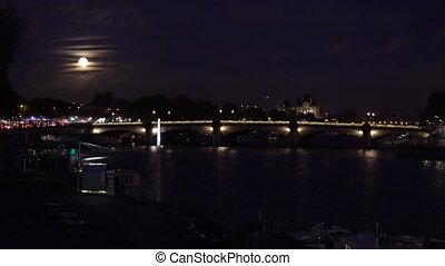 Bridge of Alexandre III, Paris, France - Cars driving on...