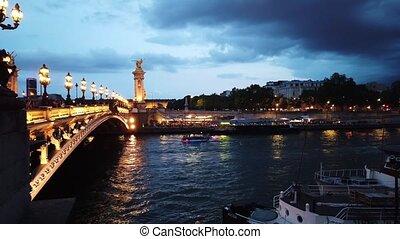 Bridge of Alexandre III, Paris, France - Paris at night -...