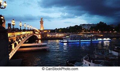 Bridge of Alexandre III, Paris, France - Paris at night - ...