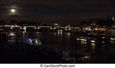 Bridge of Alexandre III, Paris, France - Ship and boats...