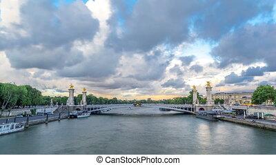 Bridge of Alexandre III spanning the river Seine timelapse...