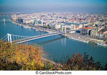 Bridge of Budapest on an autumn day. Panoramic view.