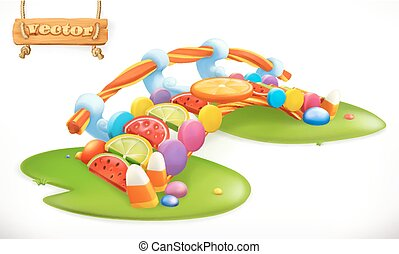Bridge of candies. Sweet land, fruit candy 3d vector icon