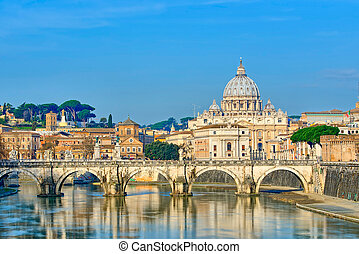 Bridge of Castel St. Angelo on the Tiber. Dome of St. Peter basilica, Rome - Italy