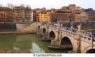 Bridge of Hadrian famous bridge in Rome, Italy